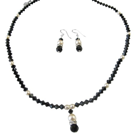 Handmade Jewelry Combo Black & Ivory Jet Crystals & Ivory Pearls Set