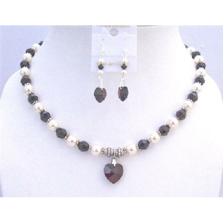 Garnet Heart Pendant Jewelry Cream Pearls Bali Silver Spacer Necklace