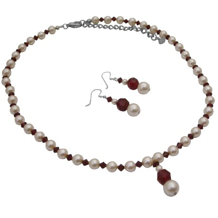 Passion Jewelry Set Ivory Pearls & Siam Red Crystals Silver Rondells