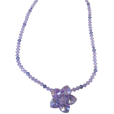 Handmade Violet & Amethyst Crystals Flower Heart Petals Necklace