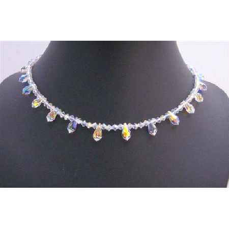 AB Briolettes Round the Neck String Swarovski Crystals Mother Jewelry
