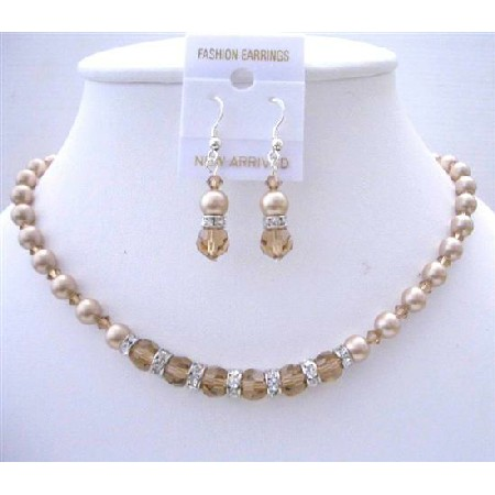 Handmade Custom Jewelry Champagne Pearls Colorado Crystal Necklace Set