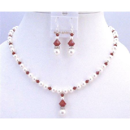 Inexpensive Jewelry Claret Crystals w/ White Pearls & Diamond Spacer