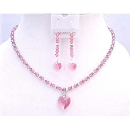 Rose & Comet Argent Light Swarovski Crystals w/ Rose Heart Pendant Set