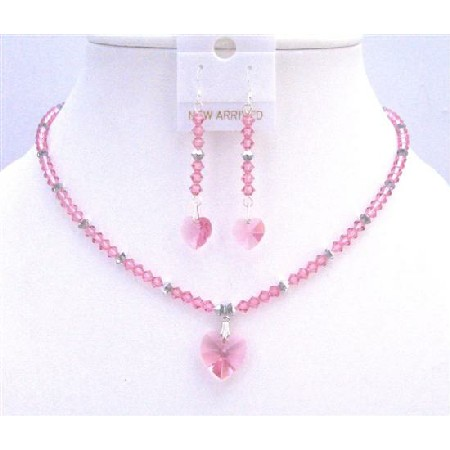 Argent Crystals Jewelry Rose Crystals Rose Crystals Heart Pendant Set