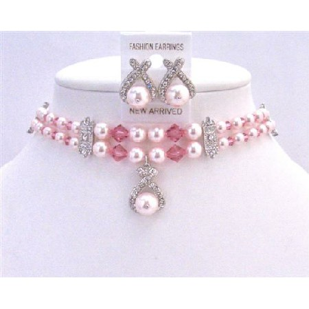 Bridal Jewelry Artisan Double Stranded Rose Pearls & Crystals Necklace