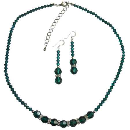 Emerald Jewelry Green Crystals Necklace Sparkling Crystals Jewelry Set