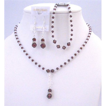 Burgundy & Clear Crystals Combo Necklace Set w/ Bracelet Complete Set
