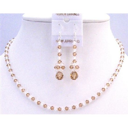 Lite Colorado Crystals w/ Clear Crystals Bridal Wedding Jewelry Set
