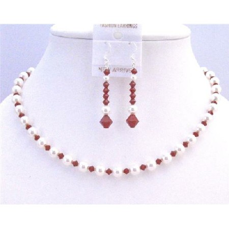 Seduction Claret Swarovski Crystals w/ Pure White Pearls Necklace Set