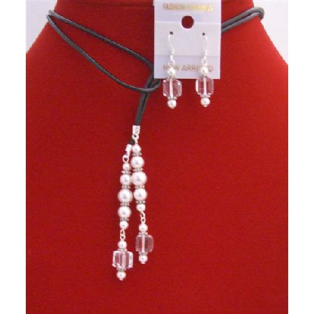 Clear Cube Crystals White Pearls Lariat Necklace & Sterling Earrings