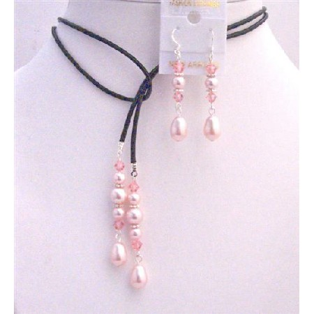 Rosaline Pearls Teardrop w/ Rose Crystals Lariat & Earrings Jewelry