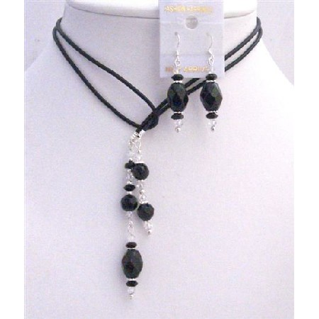 Leather Lariat Necklace & Necklace Black Briollete Clear Crystals Set