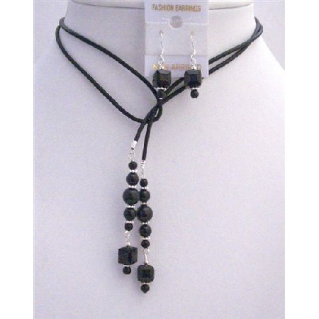 Black Pearls Crystals Leather Lariat Necklace Jet Crystal Necklace Set