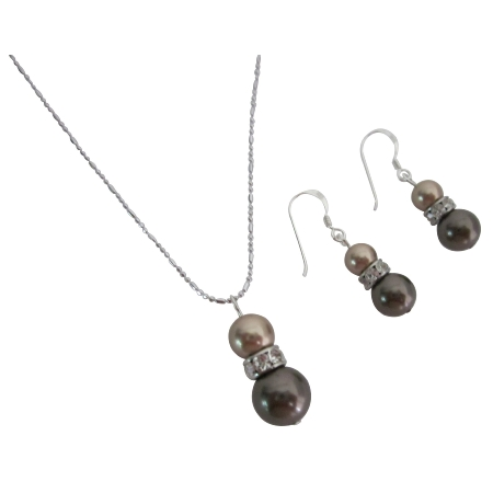Wholesale Jewelry Bronze & Brown Pearls Necklace & Earrings Set
