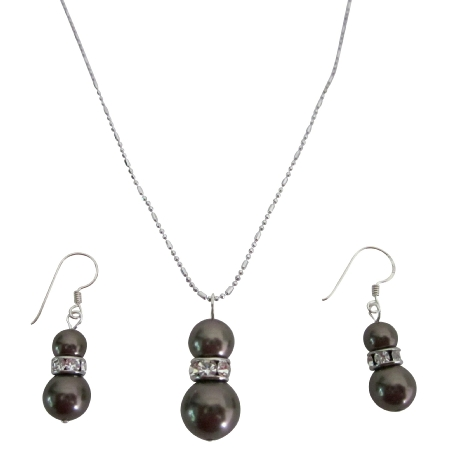Fine Jewelry Sterling Silver Earrings Brown Pearls Pendant Necklace