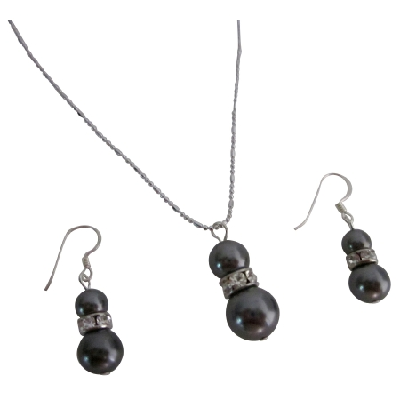 Affordable Low Priced Gift Dark Grey Pearls Jewelry