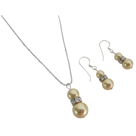 Fascinating Gold Yellow Pearls Fashion Jewelry Set