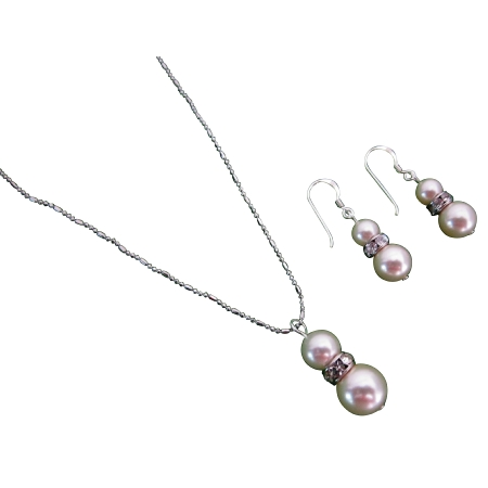 Breathtaking Splendorous Ivory Pearls Necklace Earrings Set