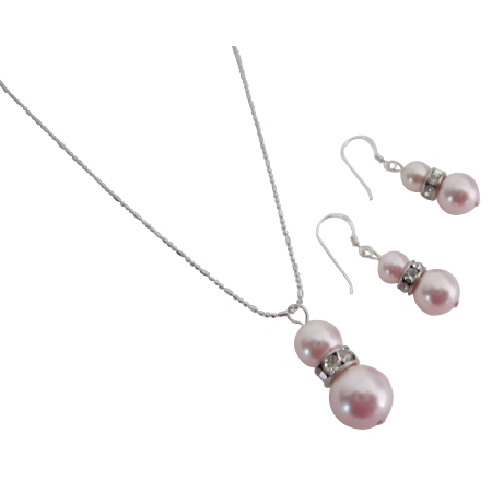 Attractive Price Allure Rose Pearls Pendant Necklace Earrings Set