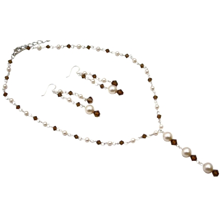 Wedding Swarovski Ivory Pearls Smoked Topaz Crystals Y-Necklace Set