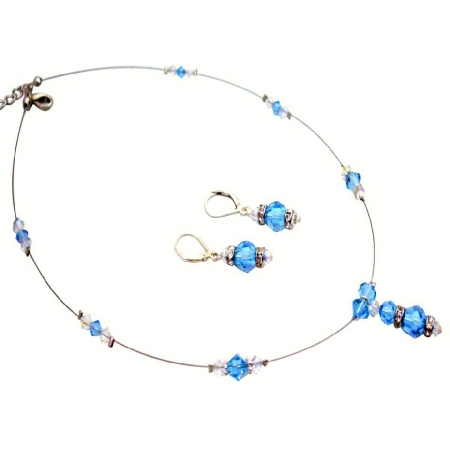Adorned with Aquamarine & AB Crystal Fine Bridal Jewelry Gift Set