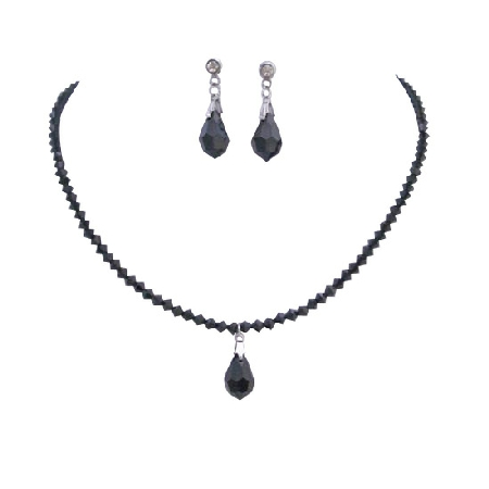 Handmade Jet Crystals with Teardrop Necklace Earrings Wife Gift