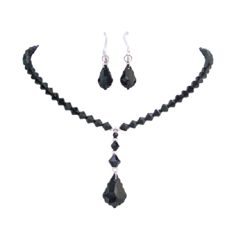 Black Baroque Pendant Crystals Necklace Earrings Set