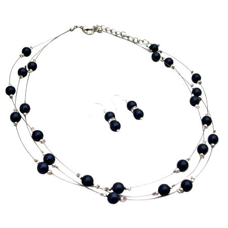 Swarovski Egg Plant Pearls Mother's Gift Three Stranded Necklace Set