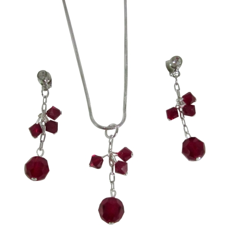 Handcraft Your Jewelry Siam Red Crystals Dangling Jewelry Set