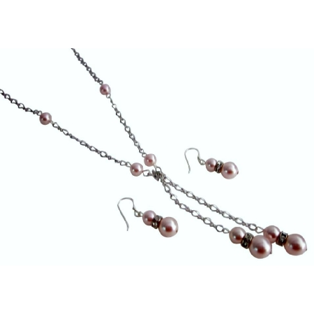 Rosaline Pearls Lariat Necklace with Matching Earrings Jewelry