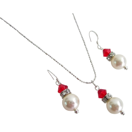 Gorgeous Handmade Gift Ivory Pearls Red Crystal Necklace Earrings Set