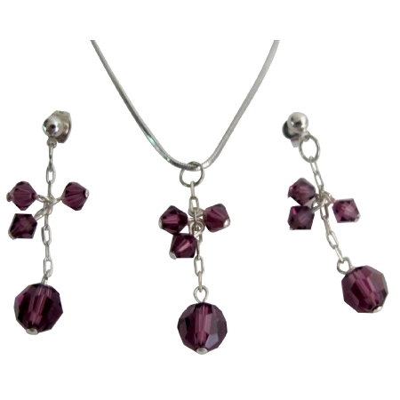 Graduation Party Jewelry Bright Sparkling Amethyst Crystal Jewelry Set