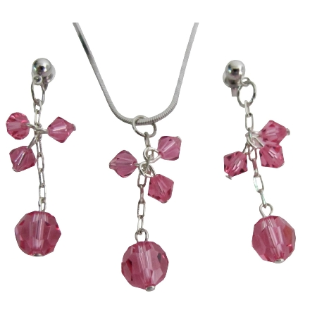 Unique Gift For Woman Romantic Touch Rose Crystal Pendant Earrings Set