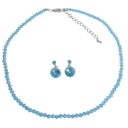 Fashionable Affordable Beautiful Aquamarine Crystal Jewelry Set