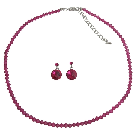 Prom Party Wear Swarovski Fuchsia Crystal Jewelry Set
