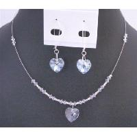 NSC704 Clear Crystals Heart Pendant Earring Set Dainty Valentine Heart Gift