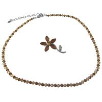 Swarovski Smoked Topaz Lite Colorado Crystals Srting Necklace & Brooch