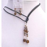 Brown Mocca Pearls Jewelry With Smoked Topaz Crystals Jewelry Set