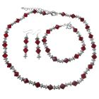 Custom Jewelry Swarovski Siam Red Crystals w/ Bali Silver Necklace Earrings Bracelet Complete Set