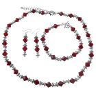 Custom Jewelry Swarovski Siam Red Crystal Bali Silver Earring Bracelet