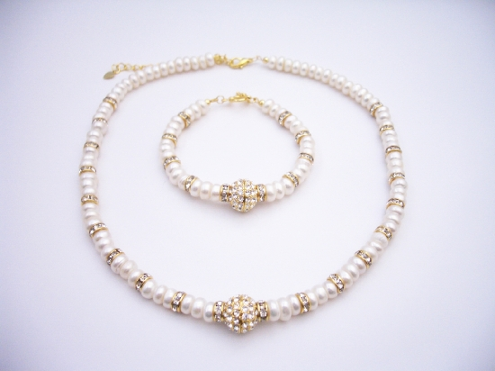 FashionJewelryForEveryone.com NSC203 Choker & Bracelet FreshWater Pearls w/ Rondells Gold Plated & Gold Plated Pendant at Sears.com