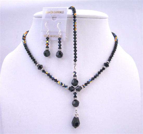Custom Your Handcrafted Crystals Back Drop Necklace Set Jet & AB Jet Swarovski Crystals w/ Silver Spacer Necklace Set