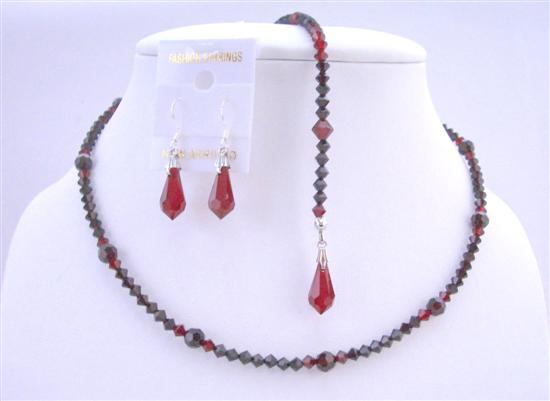 Crystals Top Drilled Teardrop(#6000) Necklace Custom Your Back Drop Down Necklace In Swarovski Siam Red Garnet Crystals Back Drop Down Necklace Set