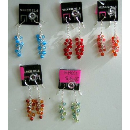 Semi Precious Beads Dangling Sterling 92.5 Earrings