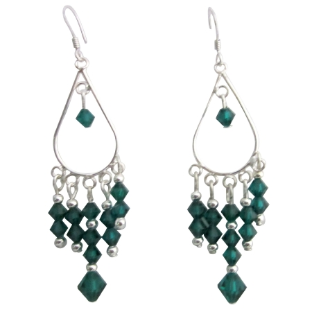 Cascade Drop Crystals Chandelier Earrings w/ Emerald Crystals