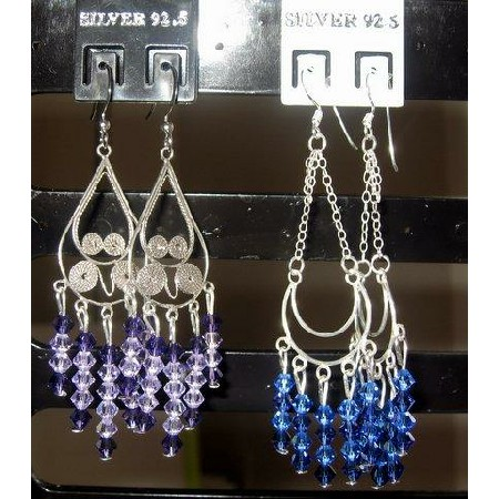 Sterling Silver 92.5 Earrings w/ Amethyst & Sapphire Crystals