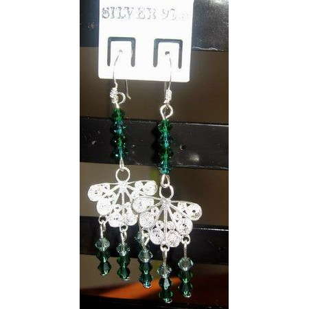 Sterling Silver Butterfly Earrings w/ Emerald Swarovski Crystal