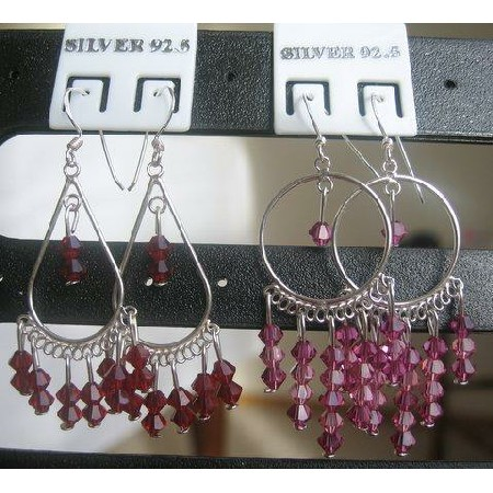 Silver & Crystals Earrings w/ Garnet & Fuchsia Crystals