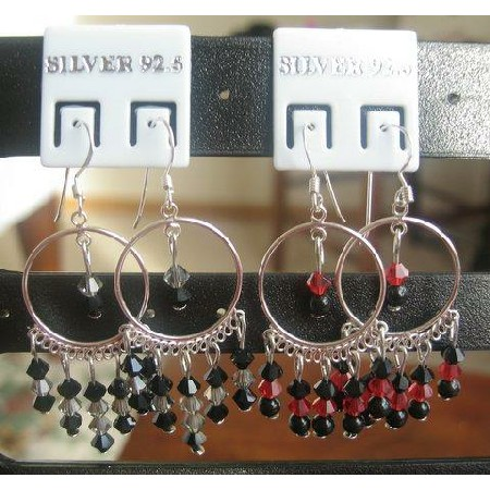 Handcrafted Custome Earrings w/ Jet & Garnet Crystals Earrings
